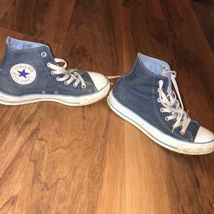 Converse Shoes - Blue high top converse size 5.5m/7.5w